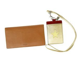 Coach 2 Sets Leather Patent Leather Card Case Brow